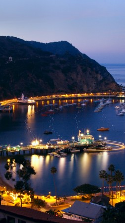 Santa Catalina Island, 5k, 4k wallpaper, California, ocean, sky, mountains, night, city, lights (vertical)