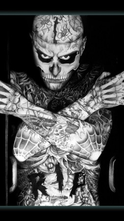Rick Genest, Zombie Boy, model, tattoo, skeleton (vertical)