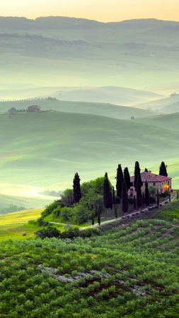 Tuscany, 4k, HD wallpaper, Italy, Hills, meadows, house, fog (vertical)