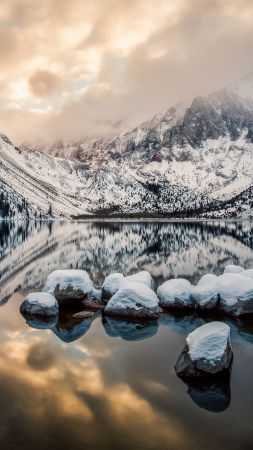 Convict Lake, 4k, HD wallpaper, Mount Morrison, California, Mountains, lake, river, sunset, ice, snow (vertical)