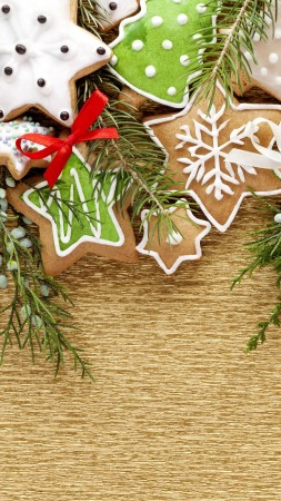 holiday cookies, christmas tree, stars, snowflakes, branch (vertical)