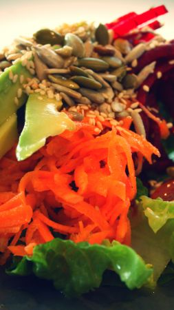 Salad, Lettuce, tomato, avocado, sesame seeds, carrots, sunflower seeds (vertical)