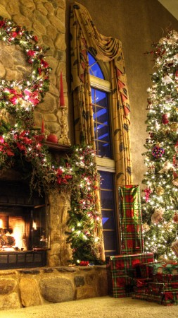 new year, fireplace, decor, fir-tree, fire, lights, room, gifts (vertical)