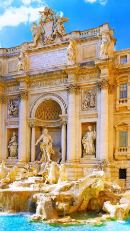 Trevi Fountain, Rome, Italy, Tourism, Travel (vertical)