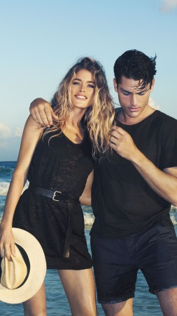 Doutzen Kroes, Tyson Ballou, Top Fashion Models, model, actor, beach (vertical)
