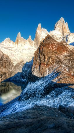 Andes, 4k, 5k wallpaper, Argentina, mountain, lake, travel, tourism (vertical)
