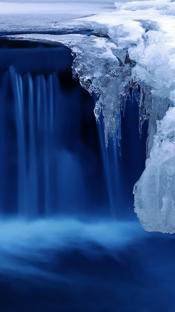 Lake, 4k, HD wallpaper, waterfall, water, snow, ice (vertical)