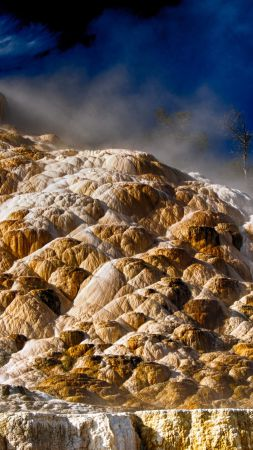 Mammoth hot springs, 4k, HD wallpaper, Yellowstone, National Park, Dakota (vertical)