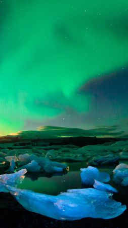 Iceland, northern lights, sky, ice