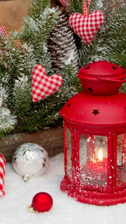 new year, christmas, decorations, balloons, stars, hearts, decoration, candle, fire, snow, winter, holidays, fir-tree (vertical)