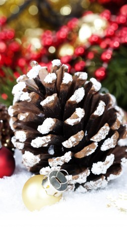 new year, christmas, decorations, balls, snow, winter, holidays, checkers, fir-tree (vertical)