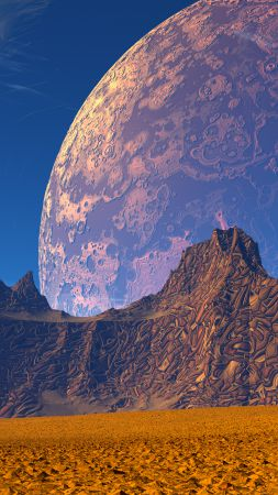 3D, Mountains, sand, planet, sky (vertical)