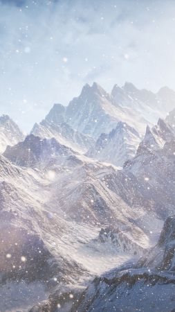 3D, 5k, 4k wallpaper, 8k, Mountains, snow, clouds (vertical)