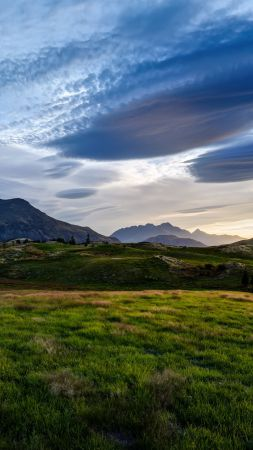 New Zeland, Mountains, meadows, clouds, sky