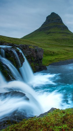 Snæfellsnes, 5k, 4k wallpaper, Iceland, waterfall, hills, river,  (vertical)