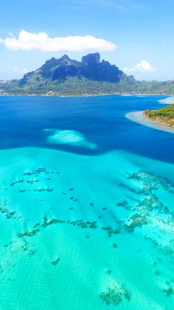 Bora-Bora, 4k, HD wallpaper, France, Best Beaches in the World, ocean, sea, island (vertical)