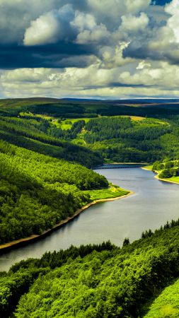 UK, hills, river, trees, sky