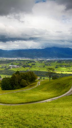 Switzerland, 4k, HD wallpaper, hills, mountains, trees, clouds (vertical)