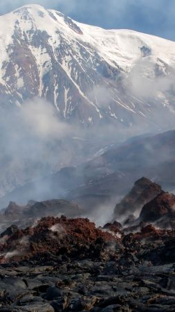 Kamchatka, 5k, 4k wallpaper, Russia, mountains, volcano, smoke (vertical)