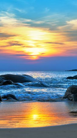 Sea, 5k, 4k wallpaper, 8k, Pacific ocean, Best Beaches in the World, shore, stones, sunset (vertical)