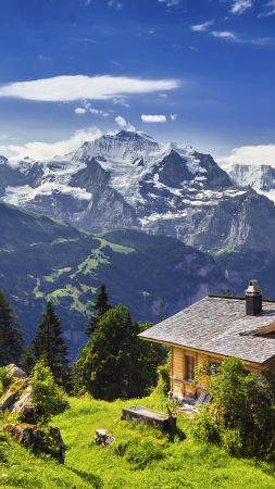 Switzerland, 5k, 4k wallpaper, 8k, mountains, sky, house (vertical)