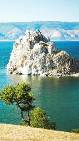 Baikal, 5k, 4k wallpaper, rocks, lake, shore (vertical)