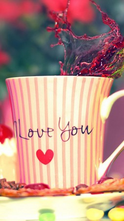 Valentine's Day, love, cup, heart, sweets, coffee (vertical)