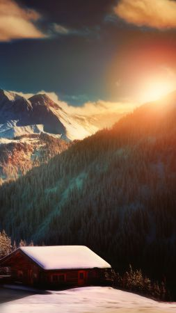 Alps, France, mountain, sunset, hills