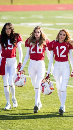 Adriana Lima, Top fashion model, Behati Prinsloo, Lily Aldridge, Doutzen Kroes, Candice Swanepoel, Victoria's Secret Angel, Super Bowl, Don't Drop a Ball (vertical)
