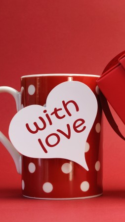 Valentine's Day, love, gift, romance, heart, cup, sign (vertical)
