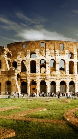 Colosseum, Rome, Italy, travel, tourism (vertical)