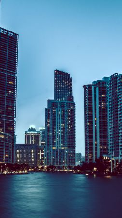 Miami, skyscrapers, night, cityscapes, tourism, travel (vertical)