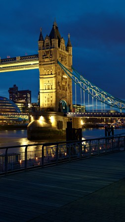 London, bridge, UK, night, river, travel, tourism (vertical)