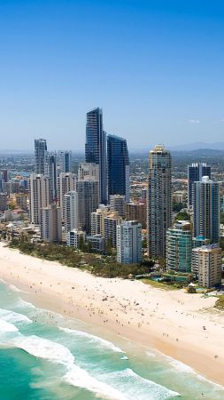 Queensland, 5k, 4k wallpaper, Australia, Pacific ocean, shore, Best Beaches in the World, skyscrapers (vertical)