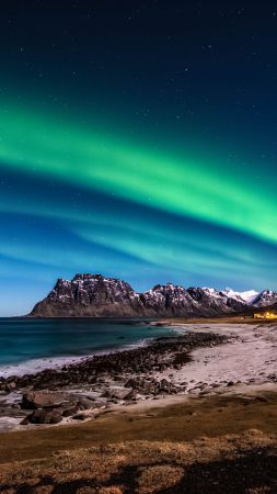 Norway, Lofoten islands, Mountains, sea, shore, night, northern lights, stars
