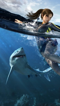 Lara Croft, Tomb Raider, shark, underwater, hunting, action, Illustration, yaht (vertical)