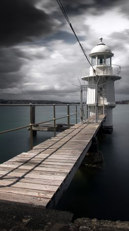Sydney Harbour, lighthouse, river, pierce, clouds