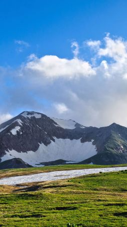Fuji, 5k, 4k wallpaper, Japan, meadows, mountains, clouds (vertical)