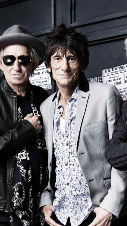 Rolling Stones, Top music artist and bands, Mick Jagger, Keith Richards, Charlie Watts, Ronnie Wood (vertical)