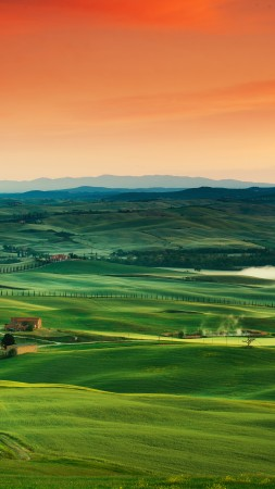 Tuscany, Italy, landscape, village, field, sunset, sky, grass