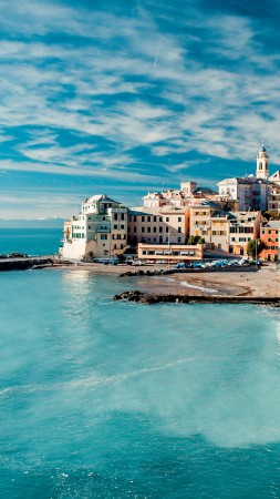 Italy, coast, Tyrrhenian Sea, houses, sky, clouds, booking, rest, travel