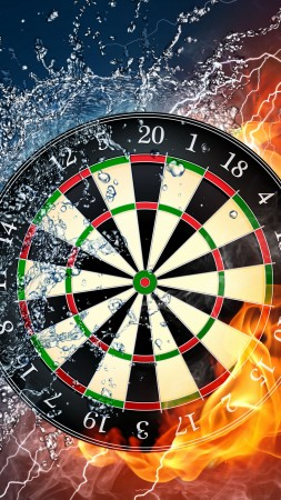 darts, 4k, 5k wallpaper, HD, wheel, target, fire, water (vertical)