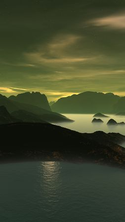 3D, Mountains, lake, night, clouds