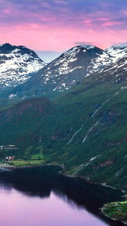 Norway, fjord, mountains, river, sky