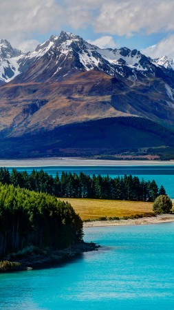 Lake Tekapo, South Island, New Zealand, booking, rest, travel, mountains, sky, clouds, vacation