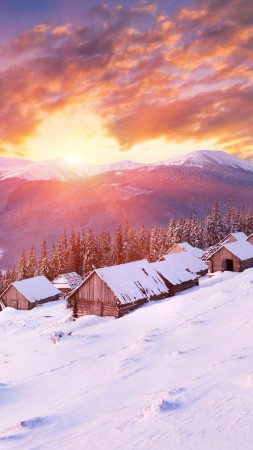 Mountains, 5k, 4k wallpaper, hills, sunset, snow, winter, house