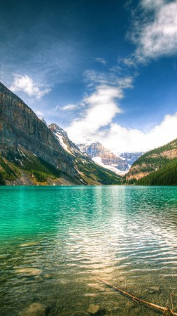 Lake Louise, 5k, 4k wallpaper, Canada, National Park, Banff, glacial lake, vacation, holiday, travel, mountain, forest, beach, sky (vertical)