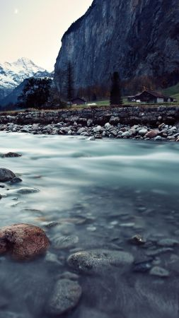 Switzerland, river, mountains, rocks