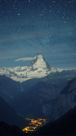 Switzerland, Alps, mountauns, stars, night