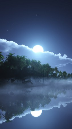 River, 4k, HD wallpaper, sea, palms, night, moon, clouds